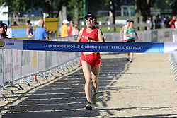 30.06.2015, Olympiapark Berlin, Berlin, GER, moderner Fünfkampf WM, Staffelbewerb Damen, im Bild Eine ueberglueckliche Qian Chen beim Zieleinlauf // during Women's relay race of the the world championship of Modern Pentathlon at the Olympiapark Berlin in Berlin, Germany on 2015/06/30. EXPA Pictures © 2015, PhotoCredit: EXPA/ Eibner-Pressefoto/ Hundt<br /> <br /> *****ATTENTION - OUT of GER*****