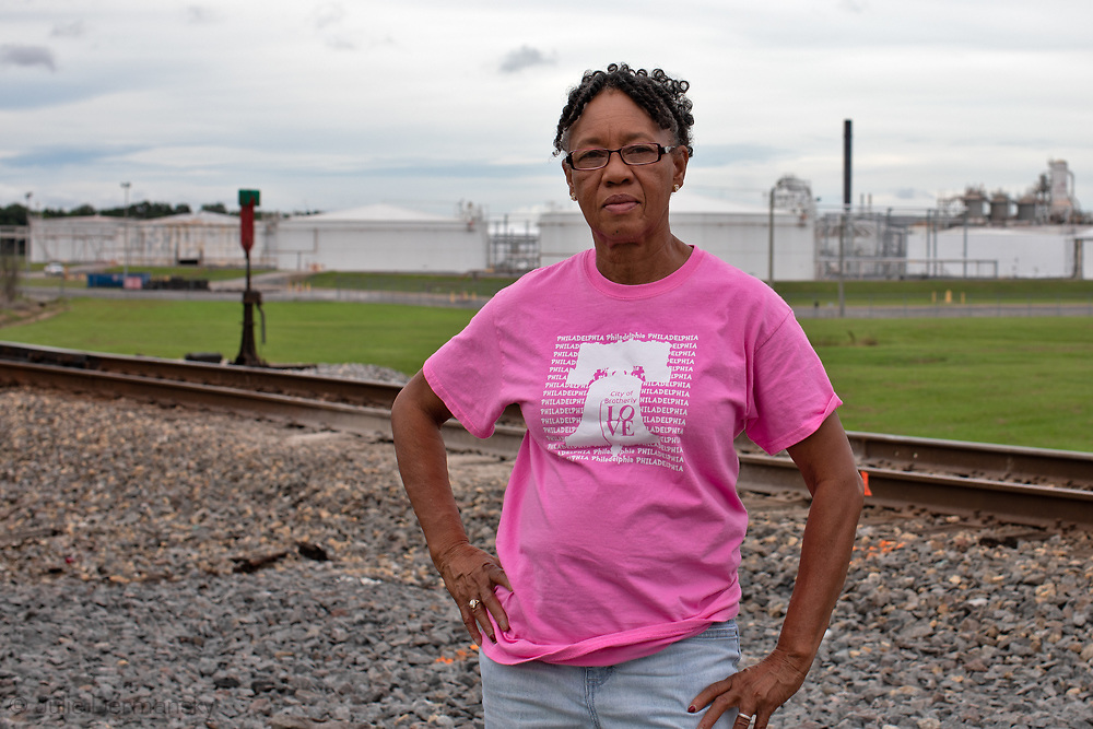 Barbara Washington in front of Occidental Chemical Corporation, near her home in Convent, LA.