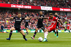 Britt Assombalonga of Middlesbrough shoots at goal - Mandatory by-line: Robbie Stephenson/JMP - 12/05/2018 - FOOTBALL - Riverside Stadium - Middlesbrough, England - Middlesbrough v Aston Villa - Sky Bet Championship