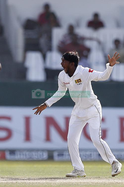 July 22, 2018 - Colombo, Sri Lanka - Sri Lankan cricketer Akila Dananjaya appeals during the 3rd day's play in the 2nd test cricket match between Sri Lanka and South Africa at SSC International Cricket ground, Colombo, Sri Lanka on Sunday  22 July 2018  (Credit Image: © Tharaka Basnayaka/NurPhoto via ZUMA Press)