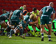 Sale Sharks prop Ross Harrison  drives over for his sides first try of the night during the The Aviva Premiership match Sale Sharks -V- London Irish  at The AJ Bell Stadium, Salford, Greater Manchester, England on September 15, 2017. (Steve Flynn/Image of Sport)