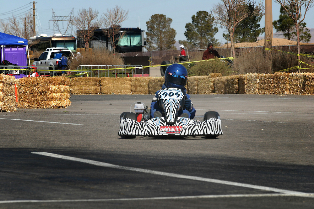 Cruz Fiore, 7 years-old, drives his go kart at the International Karting Federation race in Primm, Nevada on Saturday March 3, 2007..