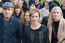 London, March 7th 2017. Public figures including Juliet Stevenson, Toby Jones, Rhys Ifans, Joely RIchardson and Vanessa Redgrave, faith leaders from the Jewish and Christian communities, MPs and Lord Dubs gather at Parliament to appeal to MPs to re-consult with local authorities to save the 'Dubs Scheme', to accommodate vulnerable refugee children from Europe. PICTURED: Toby Jones, Rhys Ifans, Juliet Stevenson and Joely Richardson join campaigners in Parliament Square