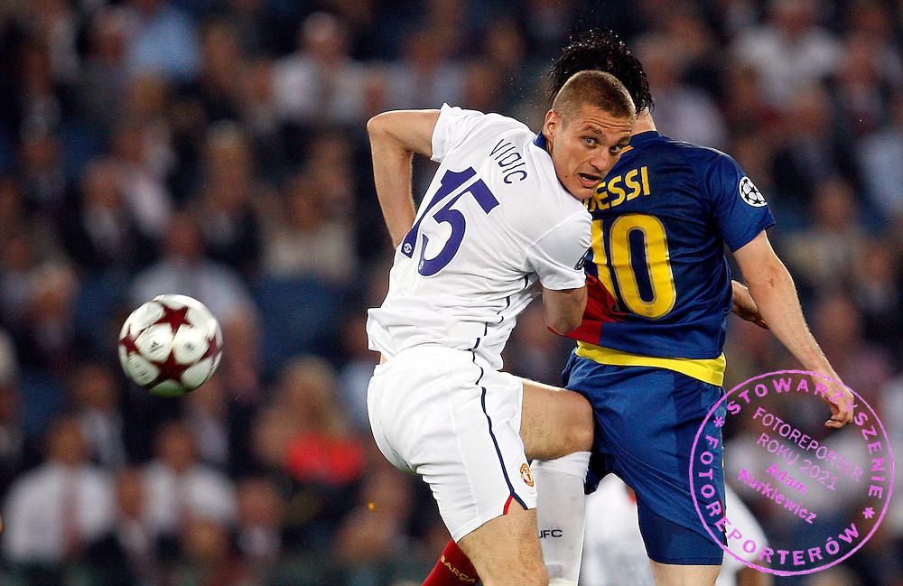 ROME 27/05/2009.Uefa Champions League - Final.Manchester United v Fc Barcelona.Nemanja Vidic of Manchester Utd and Lionel Messi of Barcelona ..Fot. Piotr Hawalej / WROFOTO