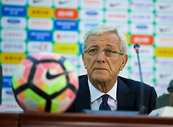 NANNING, CHINA - Thursday, March 22, 2018: China's head coach Marcello Lippi looks dejected during the post-match press conference after his side lose 6-0 to Wales during the opening match of the 2018 Gree China Cup International Football Championship between China and Wales at the Guangxi Sports Centre. (Pic by David Rawcliffe/Propaganda)