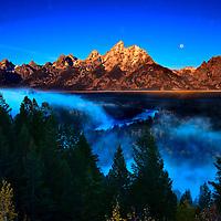 Snake River moonscape at sunrise Grand Tetons National Park, Wyoming
