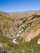 Looking over Skipper's Canyon and the Shotover River, near Queenstown, Otago, New Zealand.  Skipper's Canyon is an historical gold mining area of the Otago Region.