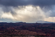Storm over the Escalante Canyons with the Henry Mountains in the background, Southern Utah.