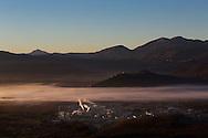Viggiano, Italia - Una veduta della Val d'Agri  dal paese di Viggiano. Sullo sfondo il centro olii dell'Eni..<br /> Ph. Roberto Salomone