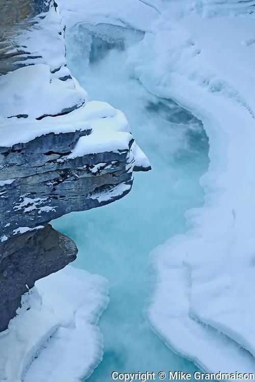Athabasca River through the Canyon at Athabasca Falls, Jasper National Park, Alberta, Canada