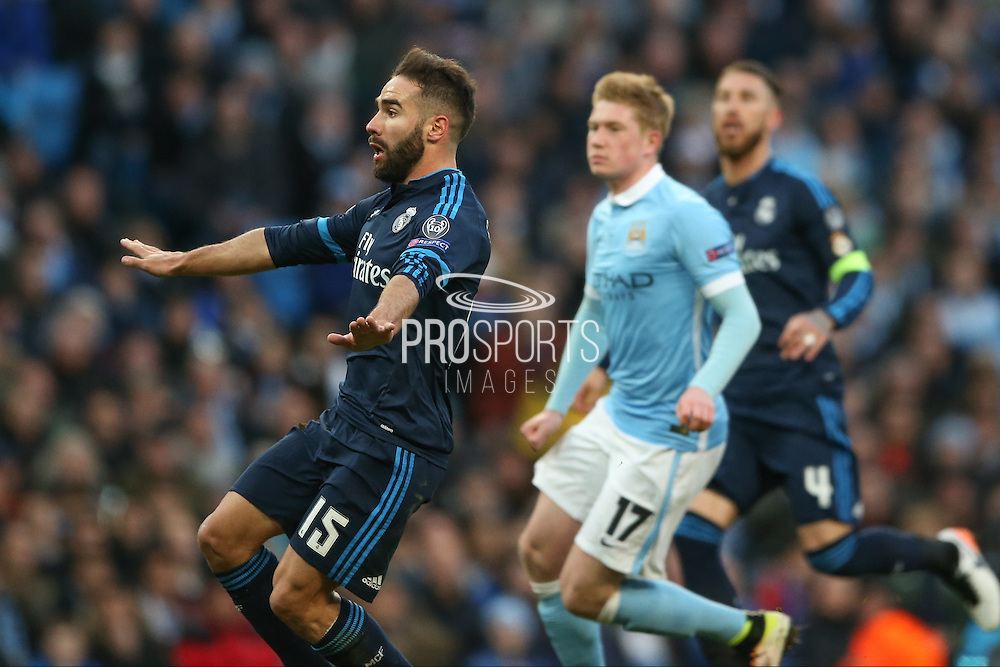 Real Madrid defender Daniel Carvajal (15)  gets the ball back to his keeper during the Champions League match between Manchester City and Real Madrid at the Etihad Stadium, Manchester, England on 26 April 2016. Photo by Simon Davies.