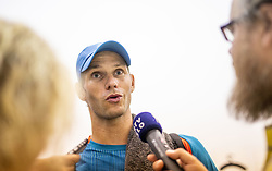 Blaz Rola of Slovenia with journalists after winning in 2nd Round of ATP Challenger Zavarovalnica Sava Slovenia Open 2019, day 6, on August 14, 2019 in Sports centre, Portoroz/Portorose, Slovenia. Photo by Vid Ponikvar / Sportida
