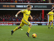 Nottingham Forest striker Jamie Ward  driving into the box during the Sky Bet Championship match between Brentford and Nottingham Forest at Griffin Park, London, England on 21 November 2015. Photo by Matthew Redman.