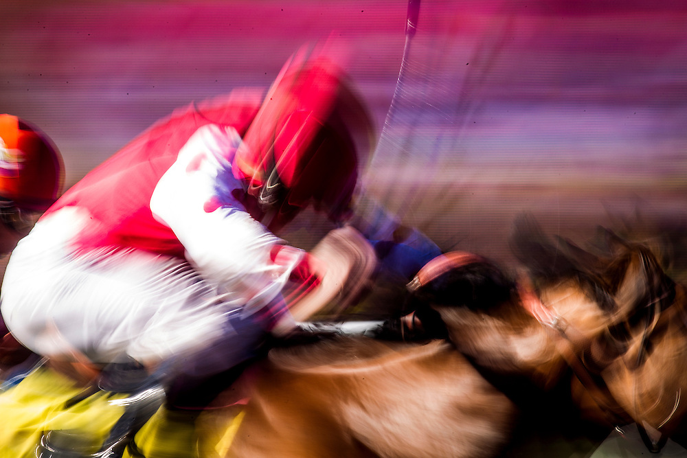 August 8 2015: A jockey whips a horse during a race at  Del Mar Race Course in Del Mar CA. Alex Evers/ESW/CSM