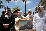 "Egyptian women mourn Marwa Sherbini, 31, at her funeral in the Egyptian port city of Alexandria July 6, 2009. Sherbini was stabbed to death inside a German courtroom by a 28 year old attacker, Axel W., who had been previously convicted of insulting her religion. Newspapers in Egypt have expressed outrage over the attack and have dubbed her the ""martyr of the hijab"" and ""headscarf martyr."""