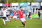 Wrexham Defender Mark Carrington in action during the Vanarama National League match between Bromley FC and Wrexham FC at Hayes Lane, Bromley, United Kingdom on 8 April 2017. Photo by Jon Bromley.