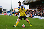 Chesham United midfielder Matt Taylor and Bristol Rovers striker Ellis Harrison battle during the The FA Cup match between Bristol Rovers and Chesham FC at the Memorial Stadium, Bristol, England on 8 November 2015. Photo by Alan Franklin.