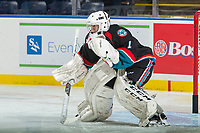 KELOWNA, CANADA - SEPTEMBER 22: James Porter #1 of the Kelowna Rockets warms up in net against the Kamloops Blazers on September 22, 2017 at Prospera Place in Kelowna, British Columbia, Canada.  (Photo by Marissa Baecker/Shoot the Breeze)  *** Local Caption ***