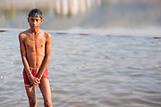 Boy bathing at Pushkar lake (India)