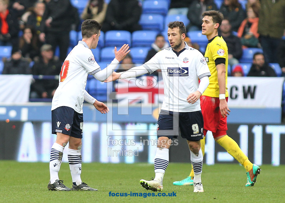 Zach Clough of Bolton Wanderers celebrates with Adam Le Fondre after scoring the first goal against Watford during the Sky Bet Championship match at the Macron Stadium, Bolton.<br /> Picture by Michael Sedgwick/Focus Images Ltd +44 7900 363072<br /> 14/02/2015