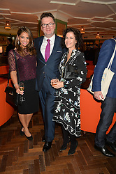 Left to right, KATY WICKREMESINGHE, EWAN VENTERS and MOLLIE DENT-BROCKLEHURST at a party hosted by Pace Gallery as part of Frieze 2015 held at 45 Jermyn Street, London on 15th October 2015.