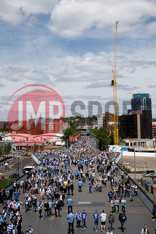 General View as fans arrive up Wembley Way for the match - Photo mandatory by-line: Rogan Thomson/JMP - 07966 386802 - 17/05/2015 - SPORT - FOOTBALL - London, England - Wembley Stadium - Bristol Rovers v Frimsby Town - Vanarama Conference Premier Play-off Final.