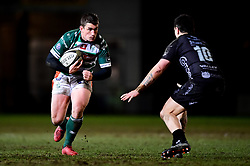 Guinness PRO14, Rodney Parade, Newport, UK 06/03/2020<br /> Dragons vs Benetton Rugby<br /> Ian Keatley of Benetton Rugby is marked by Jacob Botica of Dragons<br /> Mandatory Credit ©INPHO/Ryan Hiscott
