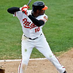 March 20, 2012; Sarasota, FL, USA; Baltimore Orioles center fielder Adam Jones (10) against the Philadelphia Phillies during a spring training game at Ed Smith Stadium.  Mandatory Credit: Derick E. Hingle-US PRESSWIRE
