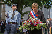 Patricia Ridel laying a wreath on behalf of the Mayor of Dieppe<br /> <br /> 74th Anniversary of the Dieppe Raid (19 August 1942) Memorial Service held at Newhaven Fort and the Canadian War Memorial. Attended by Veterans, dignitaries and guests. Organised by Canadian Veterans Association (Brighton Branch) and Newhaven Council.