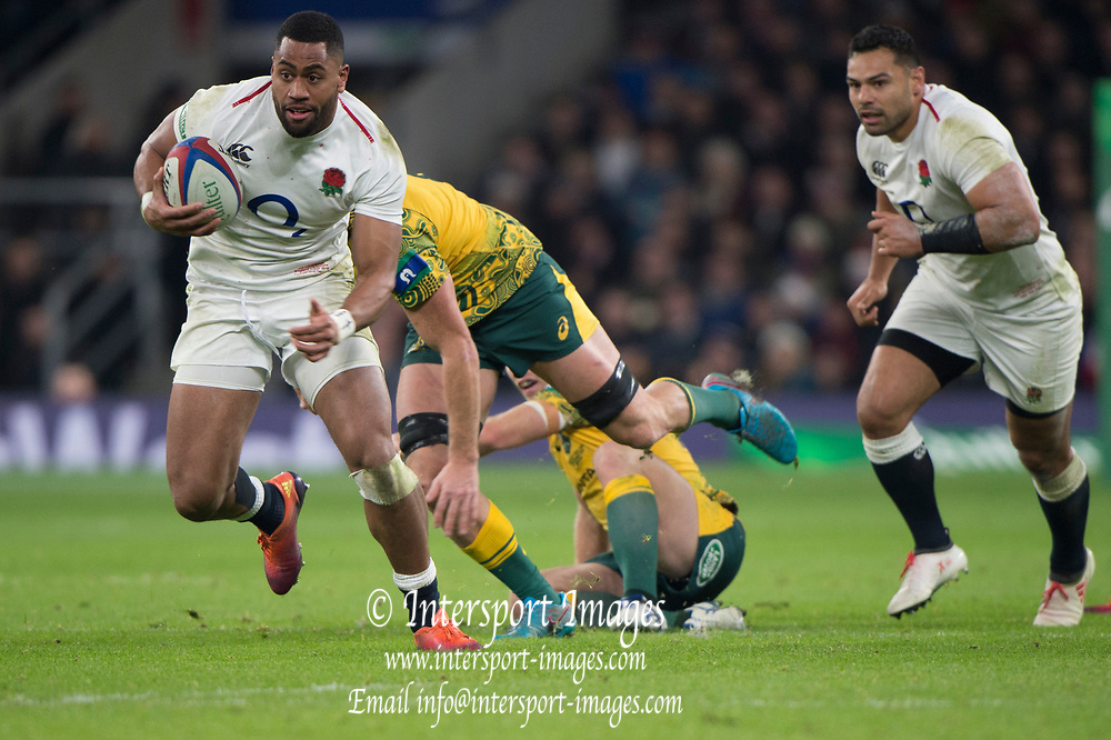Twickenham, United Kingdom, Saturday, 24th  November 2018, RFU, Rugby, Stadium, England, Right, Joe COKANASIGA, running, during  the Quilter Autumn International, England vs Australia, © Peter Spurrier