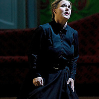 Picture shows :  Jane Irwin (black dress) as Ane?ka...Picture  ©  Drew Farrell Tel : 07721 ?735041.THE TWO WIDOWS by  Smetana.A SCOTTISH OPERA AND EDINBURGH INTERNATIONAL FESTIVAL CO-PRODUCTION.Premiering at the Edinburgh International Festival, this brand new production stars Scottish soprano Kate Valentine and internationally renowned mezzo Jane Irwin..The directorial partnership between Tobias Hoheisel and Imogen Kogge transforms this delicate comedy into something that digs deeper without losing its inherent charm. Francesco Corti conducts this, his first production as Music Director of Scottish Opera...Kate Valentine as Karolina Záleská.Jane Irwin as Ane?ka Miletinská?Nicholas Folwell as Mumlal?David Pomeroy as Ladislav Podhajsky?Ben Johnson as Toník, a peasant?Rebecca Ryan as Lidka, a maid.?Conductor..Francesco Corti.Directors ..         Tobias Hoheisel & Imogen Kogge.Designer..         Tobias Hoheisel.Lighting..         Peter Mumford.Choreographer  .Kally Lloyd-Jones.Dramaturg..Micaela von Marcard..Performances :.Edinburgh Festival Theatre?9 ? 11 ? 12  August?Theatre Royal, Glasgow?10 ?  14 ? 17 ? October?Note to Editors:  This image is free to be used editorially in the promotion of Scottish Opera and The Edinburgh International Festival. Without prejudice ALL other licences without prior consent will be deemed a breach of copyright under the 1988. Copyright Design and Patents Act  and will be subject to payment or legal action, where appropriate..Further further information please contact Kerryn Hurley Scottish Opera Press Manager t:   0141 242 0511. Or contact The Edinburgh International Festival Press Office  +44 (0)131 473 2020.
