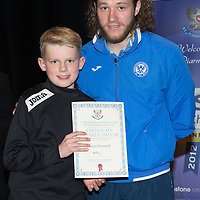 St Johnstone FC Youth Academy Presentation Night at Perth Concert Hall..21.04.14<br /> Stevie May presents to Ewan Greenhill<br /> Picture by Graeme Hart.<br /> Copyright Perthshire Picture Agency<br /> Tel: 01738 623350  Mobile: 07990 594431