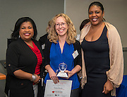 Cara Davis is named the Parent Partner of the Year during Volunteers in Public Schools recognition ceremony, May 14, 2015.