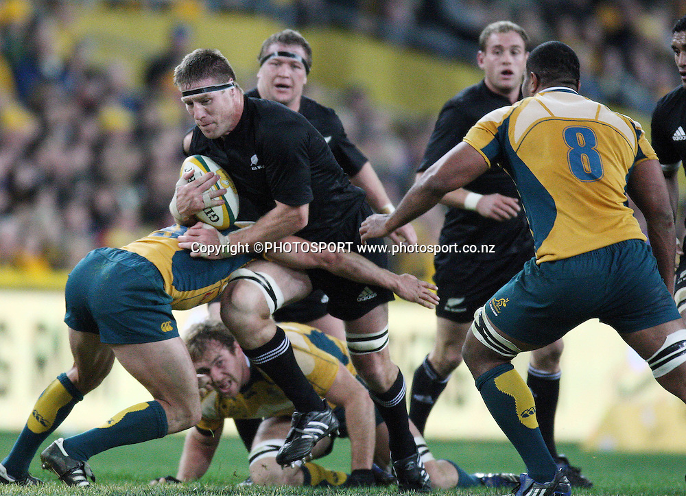 All Black lock Brad Thorn on the charge.<br />