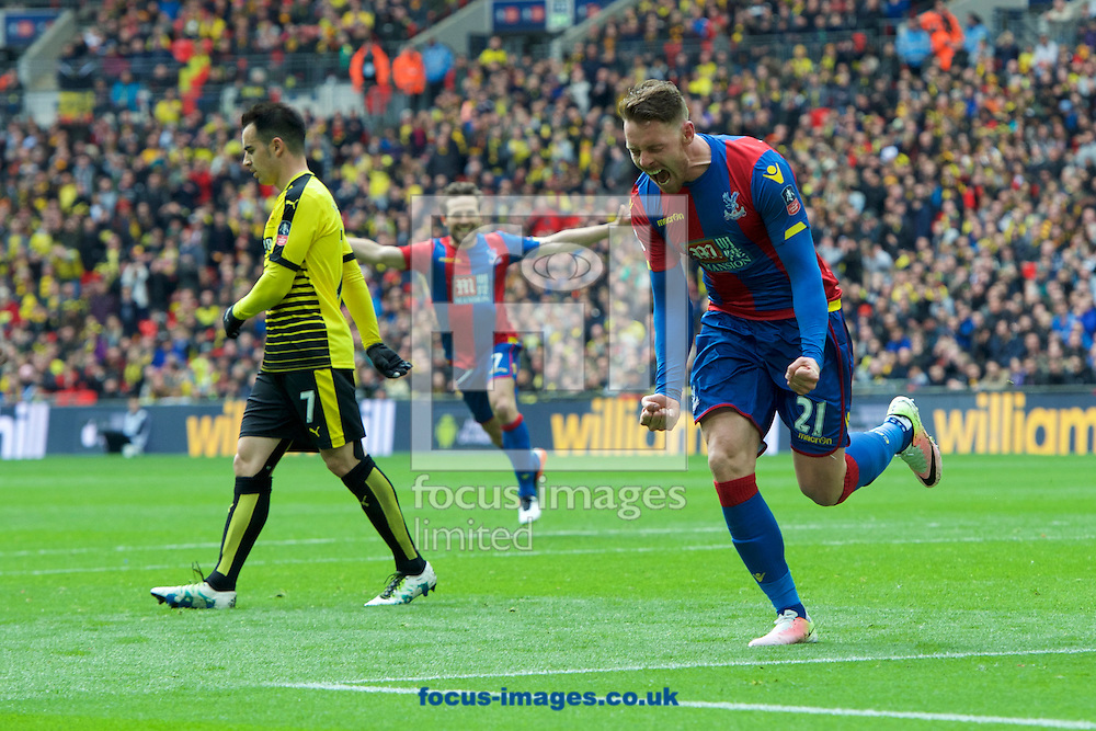 Connor Wickham of Crystal Palace celebrates after scoring his side's 2nd goal to make it 2-1during the FA Cup semi-final at Wembley Stadium, London<br /> Picture by Alan Stanford/Focus Images Ltd +44 7915 056117<br /> 24/04/2016