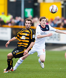 Alloa Athletic's Graeme Holmes and Falkirk's Blair Alston.<br /> Alloa Athletic 0 v 0 Falkirk, Scottish Championship 12/10/2013. played at Recreation Park, Alloa.<br /> &copy;Michael Schofield.