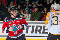 KELOWNA, CANADA - DECEMBER 3: Konrad Belcourt #5 of the Kelowna Rockets drops the gloves with Blake Jameson #34 of the Brandon Wheat Kings on December 3, 2016 at Prospera Place in Kelowna, British Columbia, Canada.  (Photo by Marissa Baecker/Shoot the Breeze)  *** Local Caption ***