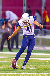 """NORMAL, IL - September 21: Eric """"Cire: Fields during a college football game between the ISU (Illinois State University) Redbirds and the Northern Arizona University (NAU) Lumberjacks on September 21 2019 at Hancock Stadium in Normal, IL. (Photo by Alan Look)"""