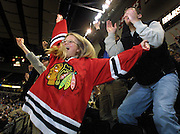 Louise Gaustad and the rest of the family go nuts in the Rose Garden as WinterHawk player Paul Gaustad scores his third goal of the night and has his first hat trick with this team.