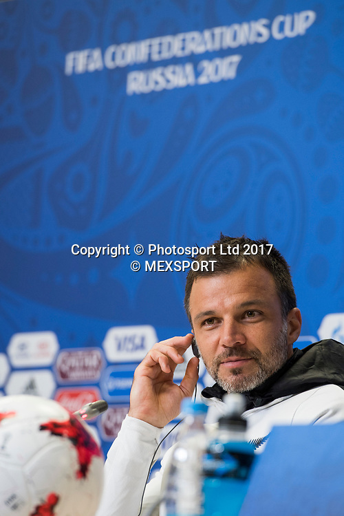 All Whites coach Anthony Hudson during the Press Conference of the Selection of New Zealand before their match against the Selection of Portugal, Correspondent to Group A of the FIFA Confederations Cup Russia 2017, in the Stadium Krestovski (Zenit) San Petesbrgo in St. Petersburg.<br /> 23 June 2017.<br /> Copyright photo: MEXSPORT / Jorge Martinez / www.photosport.nz