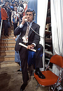 Dan Rather reports during the Republican Convention in 1980 in Detroit, MI..Photograph by Dennis Brack bs b 17