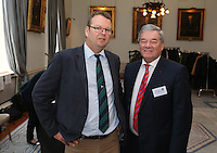 REPRO FREE***PRESS RELEASE NO REPRODUCTION FEE***<br /> Irish Sailing Awards, Royal College of Surgeons, Stephen's Green, Dublin 4/2/2016<br /> National Yacht Club sailor Liam Shanahan was named the 2015 Irish Sailor of the Year today at the Irish Sailing Awards in Dublin - Shanahan had a remarkable year, including victory in the Dun Laoghaire to Dingle race in June on his boat Ruth with two miles to spare.<br /> Kilkenny's Doug Elmes and Malahide's Colin O'Sullivan jointly took home the Irish Sailing Association (ISA) Youth Sailor of the Year award. The Howth Yacht Club sailors were hotly tipped following their recent Bronze medal success at the 2015 Youth World Championships in Malaysia, where they took Ireland's first doublehanded youth worlds medal in 19 years.<br /> The Mitsubishi Motors Sailing Club of the Year award was presented to the Royal Irish Yacht Club in honour of their success at local, national and international level.<br /> Mullingar Sailing Club took home the ISA Training Centre of the Year award, having been nominated as winners of the western-region Training Centre of the Year.<br /> Pictured is Harry Hermon, CEO ISA. and Jack Gleeson, Irish Sailing Foundation.<br /> Mandatory Credit ©INPHO/Cathal Noonan