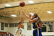Vergennes' Caroline Johnston (15) takes a shot during the girls basketball game between Vergennes and Winooski at Winooski High School on Wednesday night December 9, 2015 in Winooski. (BRIAN JENKINS/for the FREE PRESS)