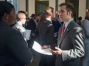 Columbus Blue Jacket representatives speak to students at the Ohio University Sports Administration Career Fair. Photo by Elizabeth Held