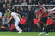Manchester United manager Jose Mourinho directing his players with a V symbol during the Premier League match between Bournemouth and Manchester United at the Vitality Stadium, Bournemouth, England on 3 November 2018.