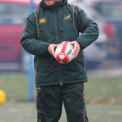 CARDIFF, WALES - NOVEMBER 11, Dick Muir assistant coach during the South African rugby team indoor and field training session at Cardiff University Talybont Sports Centre on November 11, 2010 in Cardiff, Wales<br /> Photo by Steve Haag / Gallo Images