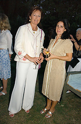 Left to right, RACHEL BILLINGTON and MRS BORIS JOHNSON at a party to celebrate the publication of Notting Hell by Rachel Johnson held in the gardens of 1 Rosmead Road, London W11 on 4th September 2006.<br />