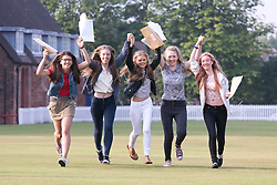 © Licensed to London News Pictures. 18/08/2016. Solihull School students receiving their A Level results earlier today. Pictured from left, Megan Lloyd, Megan Wooley, Helena Jones, Kim Tomlins, Georgina Brownsword. Photo credit: Dave Warren/LNP