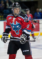 KELOWNA, CANADA - AUGUST 30:  Kelowna Rockets prospect #17 Alexander Uryga warms up against the Kamloops Blazers on August 30, 2014 during pre-season at Prospera Place in Kelowna, British Columbia, Canada.   (Photo by Marissa Baecker/Shoot the Breeze)  *** Local Caption *** Alexander Uryga;