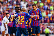 Arturo Vidal from Chile talking with Samuel Umtiti from Camerun and Gerard Pique from Spain during the Joan Gamper trophy game between FC Barcelona and CA Boca Juniors in Camp Nou Stadium at Barcelona, on 15 of August of 2018, Spain, Photo Xavier Bonilla / SpainProSportsImages / DPPI / ProSportsImages / DPPI